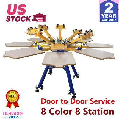 US STOCK 8 Color 8 Station Screen Printing Machine Press T