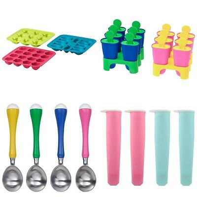 Ice Cube Tray Ice lolly Maker Ice Cream Scoop Reusable Pink Blue Green IKEA
