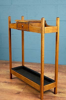Arts and Crafts oak umbrella stick stand, hall stand (100000e)