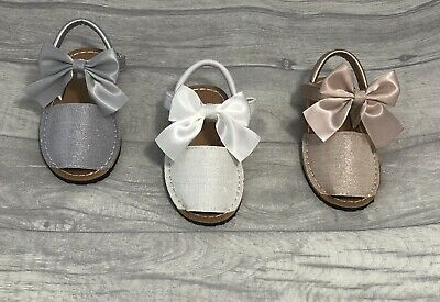 Girls Spanish Sandals Bow Sparkle White Silver Pink **BIG FITTING**