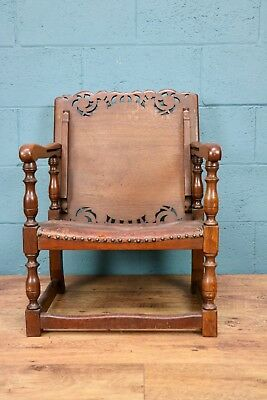Oak and Leather Monks Seat, Monks Bench (10000h)