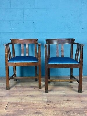 Matching pair of Arts and Crafts oak tub chairs, Glasgow style (100673)