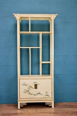 1920s Chinoiserie Display Cabinet, Cream lacquer (100651)