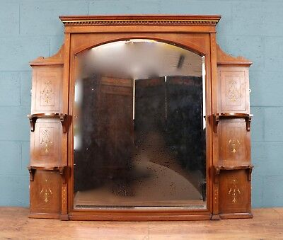 Aesthetic Movement Oak Over Mantle Mirror, with shelves (100608)