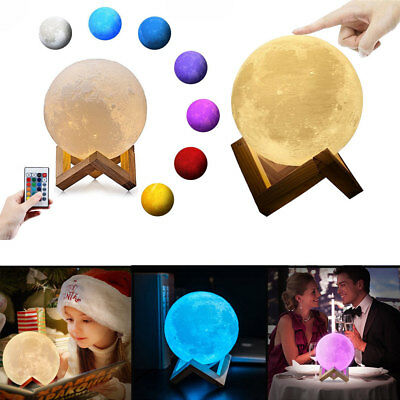 3D Print Moon Lamp Rechargeable Night Light 8/10/12/18/22cm Bookcase Nightlight
