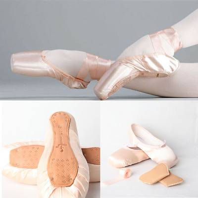 New Women Kids Professional Satin Ballet Dance Toe Pointe Shoes with Ribbon