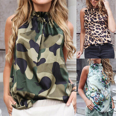 Women Cold Shoulder Sleeveless Tank Tops New Summer Leopard Bandage Casual Shirt