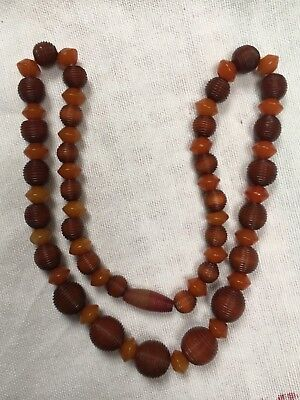 1920s to 1930s Deco bakelite orange brown amber colour carved bead necklace