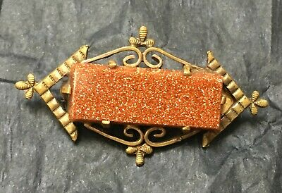 Antique Victorian brass and goldstone brooch 4.1 cm x 2.3cm good condition