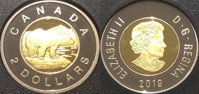 BRASS 2019 Polar Bear $2 Toonie Proof Coin Canada from D-Day Set