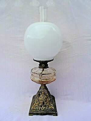 "Vintage 20"" Oil Lamp With Cast Metal Base Clear Glass Reservoir & White Glass Sh"