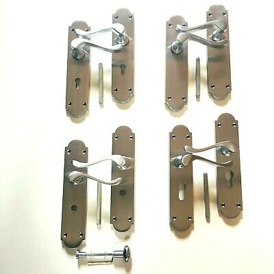 SCP361-14 Brushed Chrome Door Handles Bathroom T/&R Victorian Straight Satin