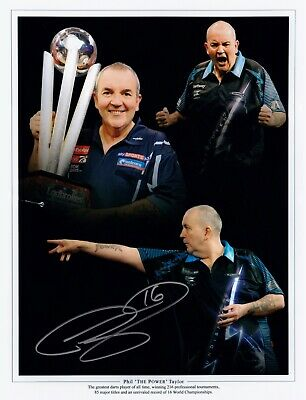 PHIL TAYLOR THE POWER DARTS HAND SIGNED PHOTO AUTHENTIC + COA - 16x12