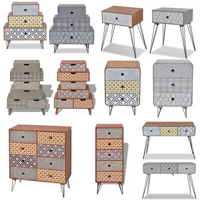 Retro Sideboard Cabinet Bedside Table Home Storage Cupboard Nightstand + Drawers