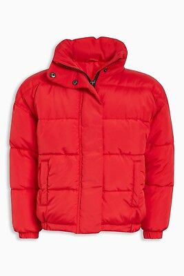 BNWT NEXT Girls Red Padded Puffa Winter Coat Jacket Hood In Collar 7-8 Years