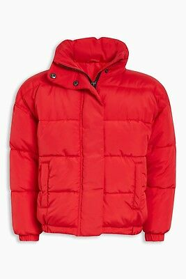 NEXT Girls Red Jacket Padded Puffa Winter Coat With Hood In Collar 7-8 Year BNWT