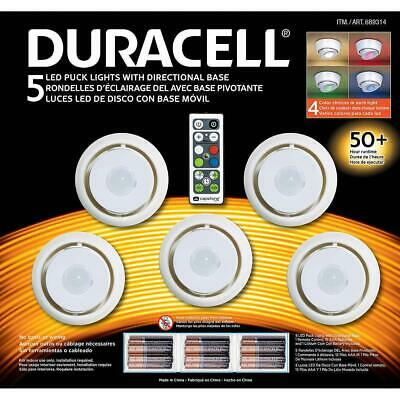 Duracell 5 LED Wireless Puck Light Battery Operated 360 Swivel with Remote
