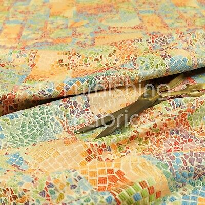 Blue Multicoloured Stained Effect Pattern Curtain Furnishing Upholstery Fabrics
