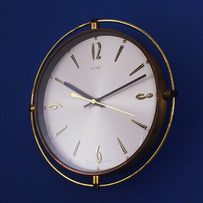 Metamec - 1970s Quartz Brass Wheel Wall Clock - Vintage Retro