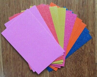 9.5cm x 15cm GLITTER CARDSTOCK (PACK 1) 12 SHEETS, 6 COLOURS, 240gsm