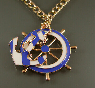 25//50//100 BLUE//WHITE WOODEN ANCHOR OR SHIPS WHEEL CHARM// PENDANT #CRAFT