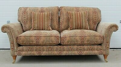 Parker Knoll Burghley Large 2 Seater Sofa in Baslow Medallion Gold Fabric