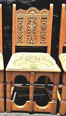 4 Antique California Spanish Mission Oak LIFETIME FURNITURE Co Dining Chairs