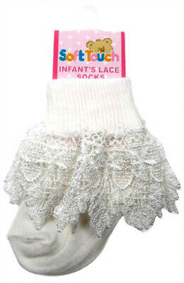 Baby Girls Lace Ankle Socks White Newborn-12 months