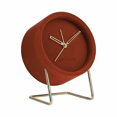 Karlsson Lush Velvet Alarm Clock - Clay Brown / Red *Clearance 519*