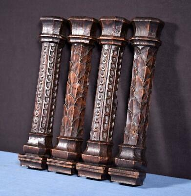 *Antique Gothic Carved Architectural Trim/Pillars in Solid Oak Wood Salvage