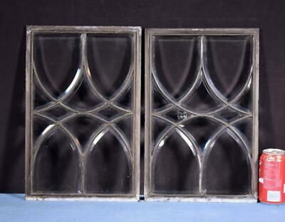 *Pair of Antique Beveled Glass Panels with Leaded Frames Salvage