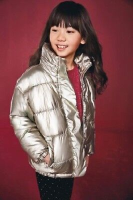 NEXT Metallic Gold Jacket Girls Winter Padded Coat With Hood 4-5 Years RRP £34