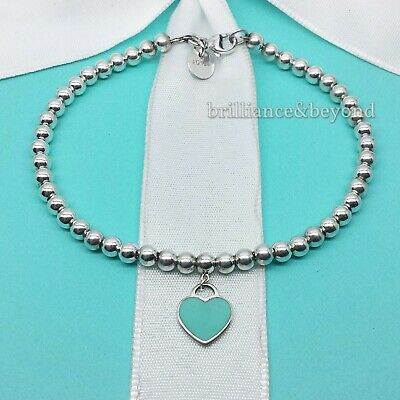 ddaa5601b Return to Tiffany & Co. Mini Heart Tag Bead Ball Bracelet Silver Blue  Enamel 7.5