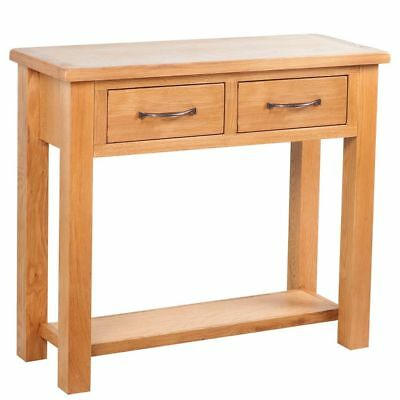 Solid Oak Console Table Hall Table Bedside Side Table with 2 Drawers 83x30x73 cm