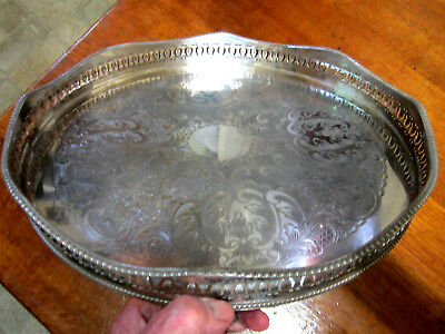 Old Antique Silver Plate on Copper Sheffield Style Large Butlers Tray c1905