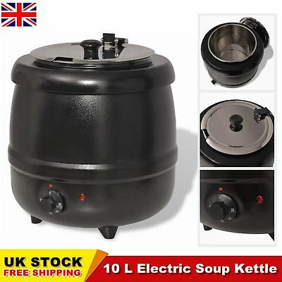 10L Catering Soup Kettle Gravy Pot Warmer Heater Black Electric 35 x 35 x 38 cm