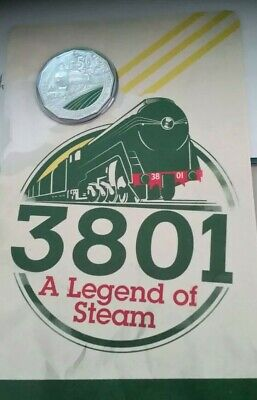2018 unc 50c A LEGEND OF STEAM 3801 COLOURED COIN ON CARD