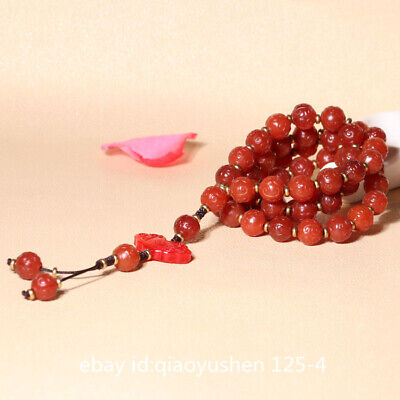 Pretty Chinese Red Agate Hand Carved 59PCS Prayer Beads Jewelry Necklace Pendant