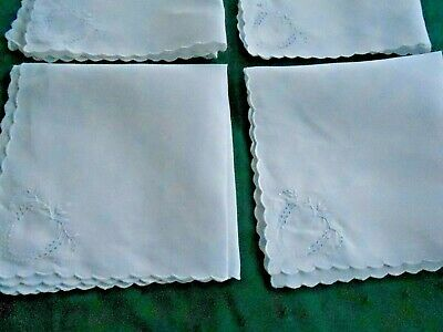 5 Snow White Linen Napkins With Pretty White Work Hand Embroidery, Vintage 1920