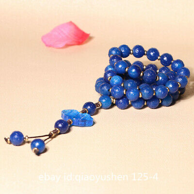 Pretty China Blue Agate Hand Carved 59PCS Prayer Beads Jewelry Necklace Pendant