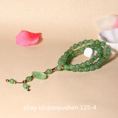 Pretty China Green Agate Hand Carved 75PCS Prayer Beads Jewelry Necklace Pendant