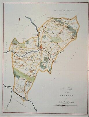 """Kent - The Hundred Of Maidstone For Hasted's """"History Of Kent"""". 1778."""