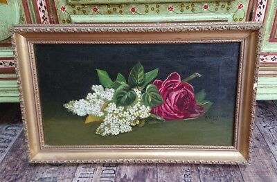 Original landscape Floral Oil Painting Still Life Bouquet vintage old roses red