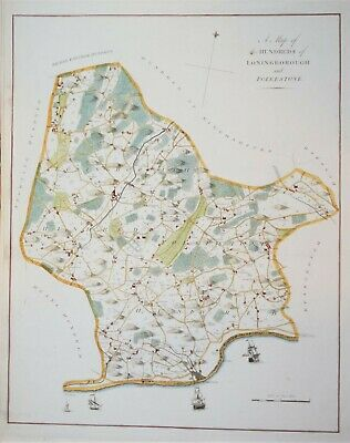 """Kent - Loningborough And Folkstone For Hasted's """"History Of Kent"""" 1778."""