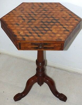 RARE Antique 19th Century Victorian Hexagonal Parquetry Inlaid Table + Draw