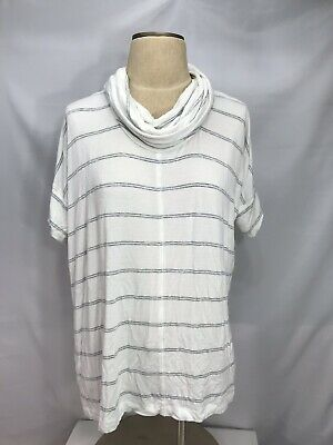 41541636d82 Lou & Grey Women's Striped Top Small White Gray Soft Cowl Neck Short Sleeve