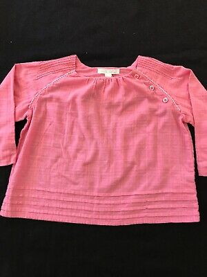 Marie Chantal Pink Pin Tucked Cotton Blouse - 24 Months