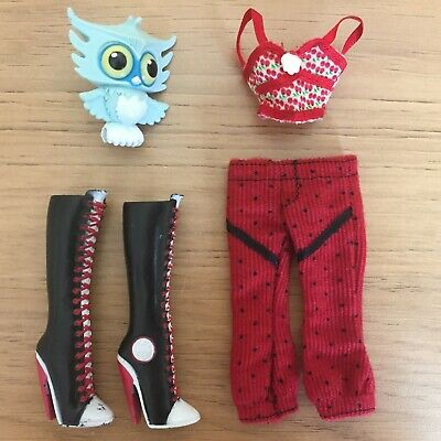 Monster High Ghoulia Yelps Spares Bundle Red Top Trousers Boots & Pet Owl Hoots