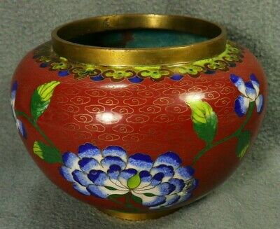 Late Qing Dynasty Chinese Red Cloisonne Red w/ Blue Chrysanthemum Flower Pot