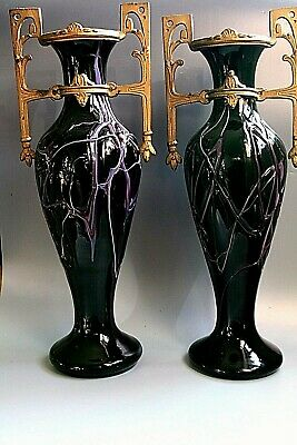 A Pair Antique Art Nouevau Jugendstil LOETZ Glass Vases - CIRCA 1915